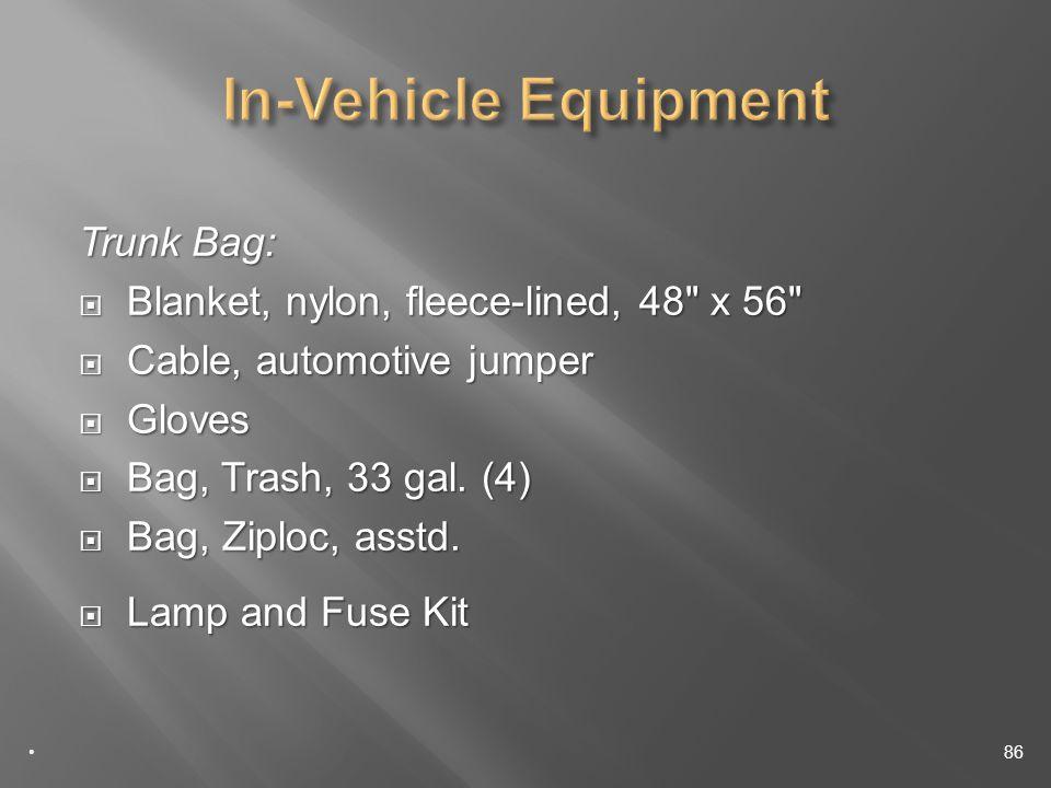 Trunk Bag: Blanket, nylon, fleece-lined, 48 x 56 Blanket, nylon, fleece-lined, 48 x 56 Cable, automotive jumper Cable, automotive jumper Gloves Gloves Bag, Trash, 33 gal.