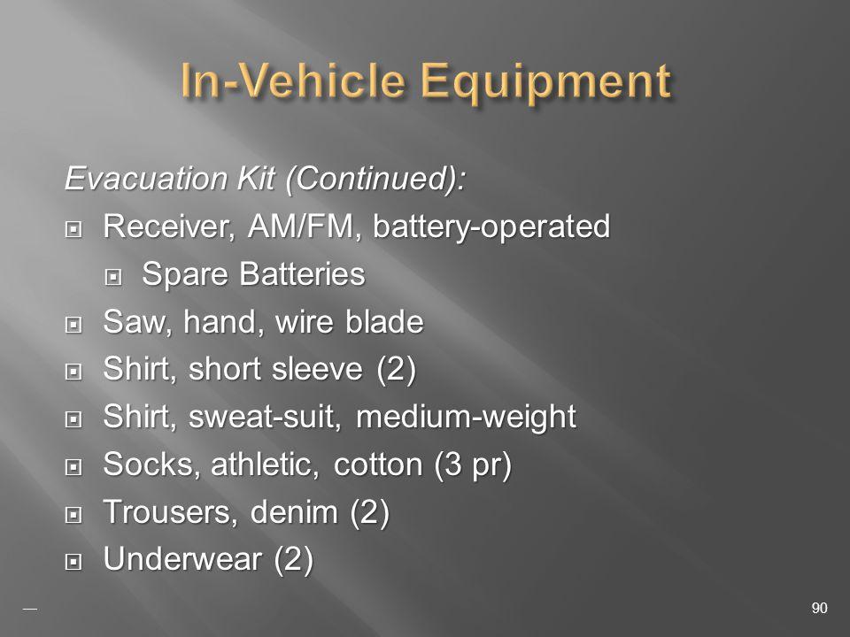 Evacuation Kit (Continued): Receiver, AM/FM, battery-operated Receiver, AM/FM, battery-operated Spare Batteries Spare Batteries Saw, hand, wire blade Saw, hand, wire blade Shirt, short sleeve (2) Shirt, short sleeve (2) Shirt, sweat-suit, medium-weight Shirt, sweat-suit, medium-weight Socks, athletic, cotton (3 pr) Socks, athletic, cotton (3 pr) Trousers, denim (2) Trousers, denim (2) Underwear (2) Underwear (2) 90