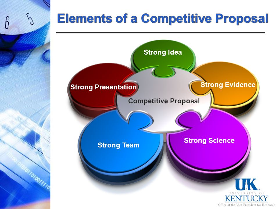 Competitive Proposal Strong Idea Strong Evidence Strong Presentation Strong Science Strong Team
