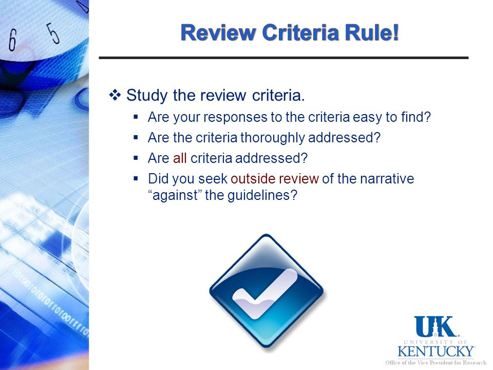 Study the review criteria. Are your responses to the criteria easy to find.