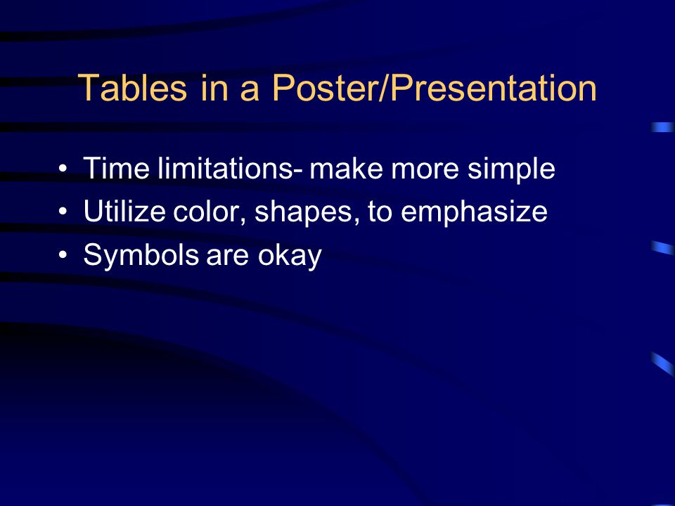Tables in a Poster/Presentation Time limitations- make more simple Utilize color, shapes, to emphasize Symbols are okay