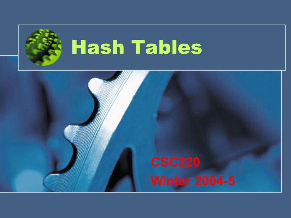 Hash Tables CSC220 Winter 2004-5