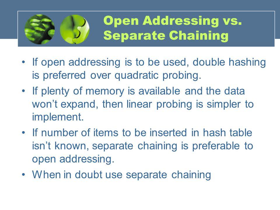 Open Addressing vs.