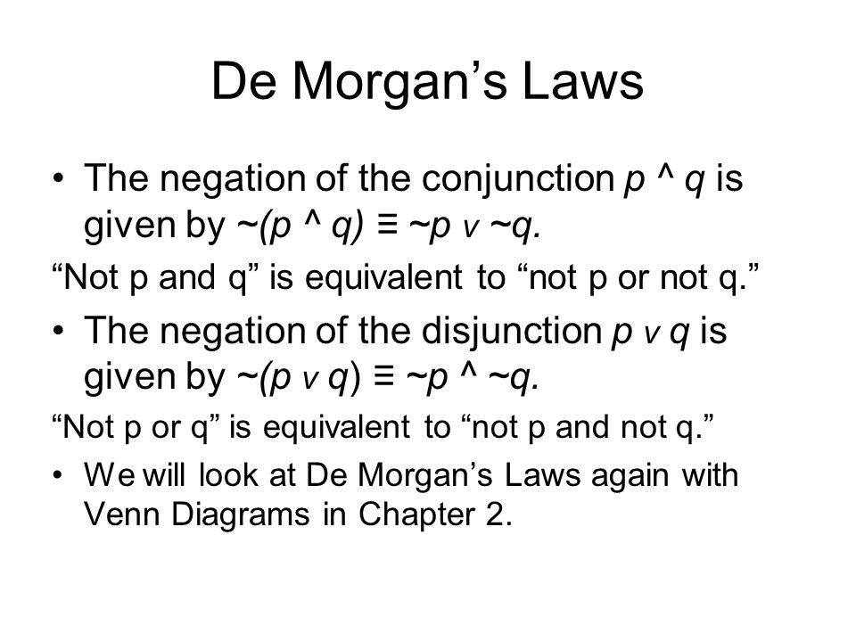 De Morgans Laws The negation of the conjunction p ^ q is given by ~(p ^ q) ~p v ~q. Not p and q is equivalent to not p or not q. The negation of the d