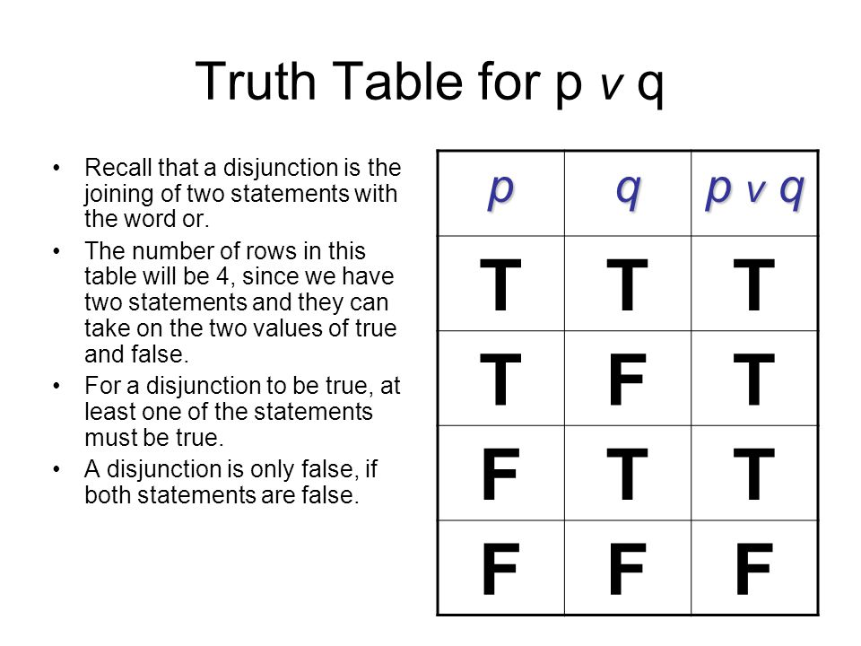 Truth Table for p v q Recall that a disjunction is the joining of two statements with the word or. The number of rows in this table will be 4, since w