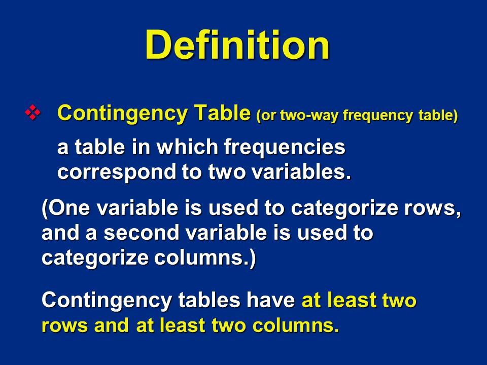 Definition Contingency Table (or two-way frequency table) Contingency Table (or two-way frequency table) a table in which frequencies correspond to two variables.