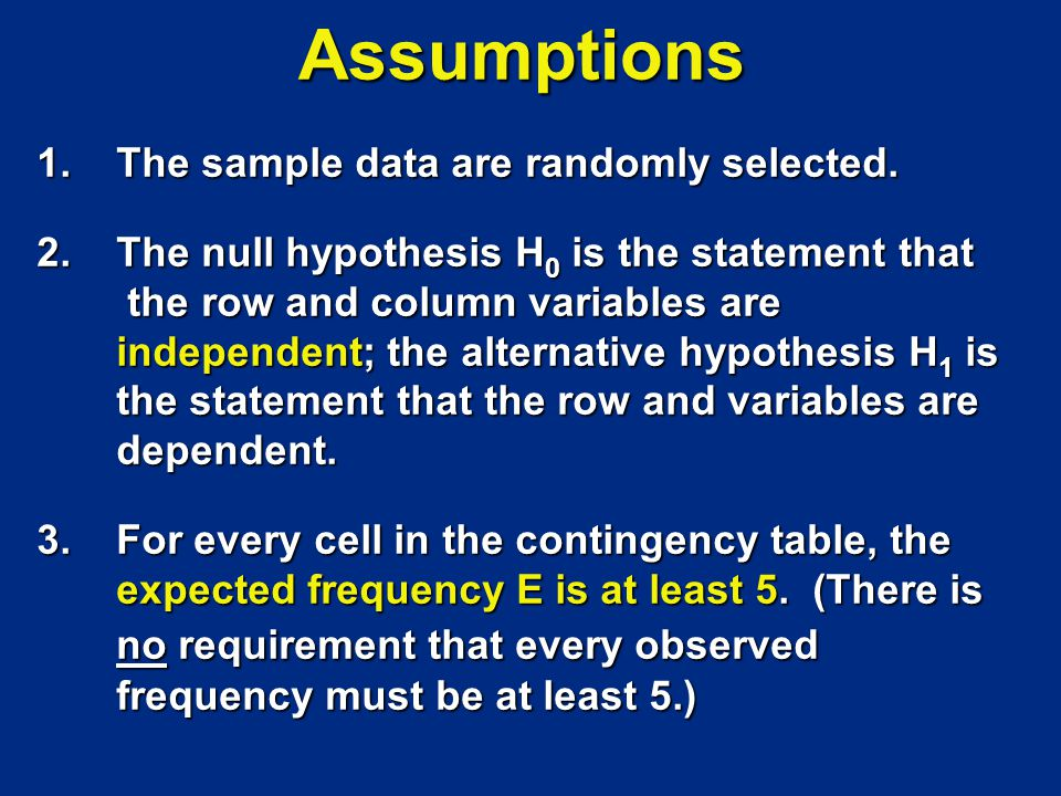 Assumptions 1. The sample data are randomly selected.