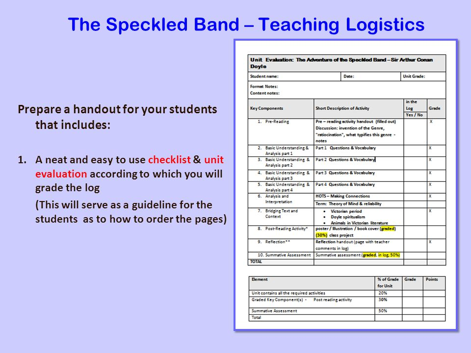The Speckled Band – Teaching Logistics Prepare a handout for your students that includes: 1.A neat and easy to use checklist & unit evaluation according to which you will grade the log (This will serve as a guideline for the students as to how to order the pages)