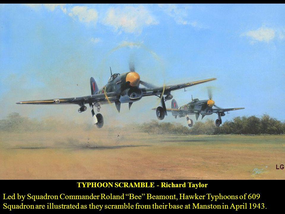 CLASH OF EAGLES - Roy Grinnell MAY 1944 - Lt. Hubert Hackmann, his guns jammed, rams his Messerschmitt into Capt. Joseph H. Bennets 336 Ftr Sqn P-51B