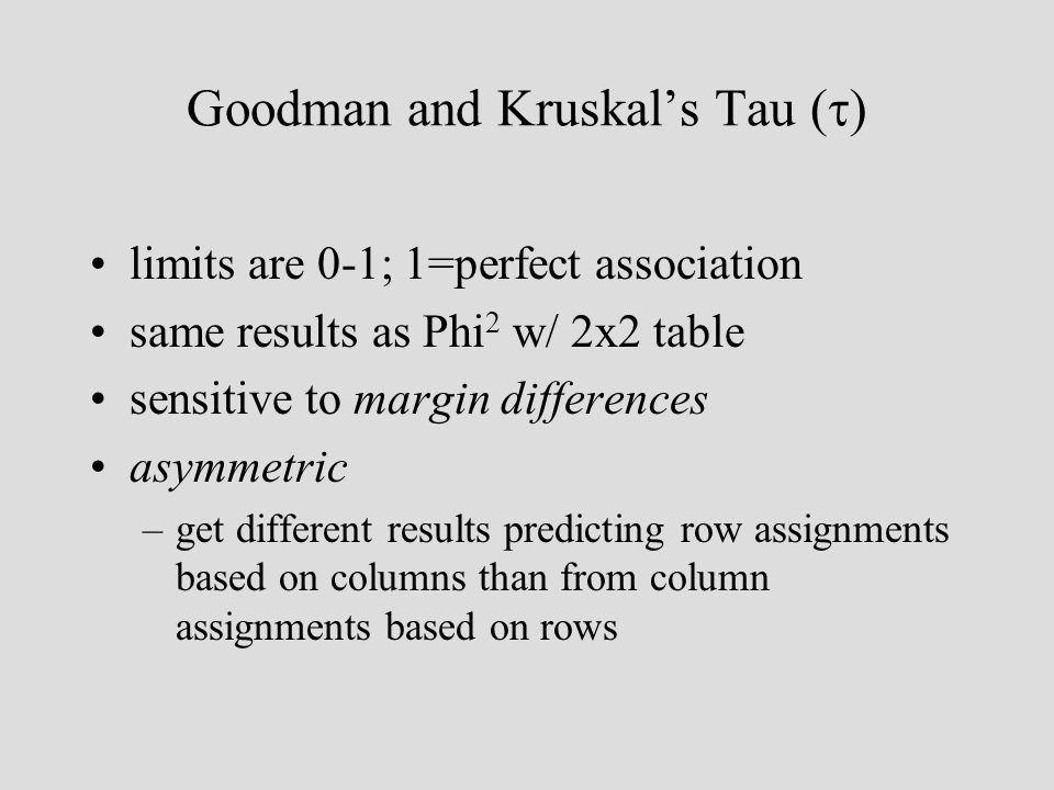 Goodman and Kruskals Tau ( ) limits are 0-1; 1=perfect association same results as Phi 2 w/ 2x2 table sensitive to margin differences asymmetric –get different results predicting row assignments based on columns than from column assignments based on rows
