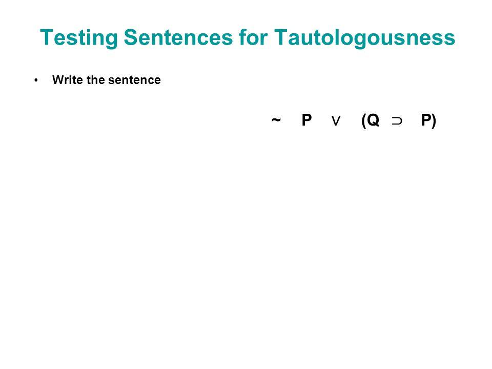 Testing Sentences for Tautologousness Write the sentence ~P (Q P)