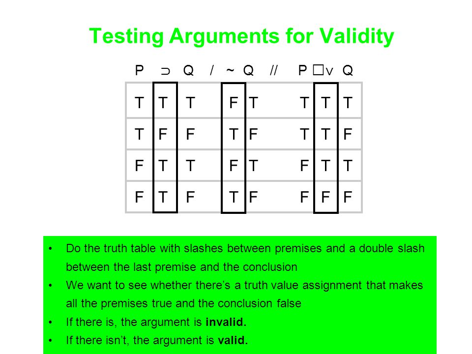 Testing Arguments for Validity Do the truth table with slashes between premises and a double slash between the last premise and the conclusion We want