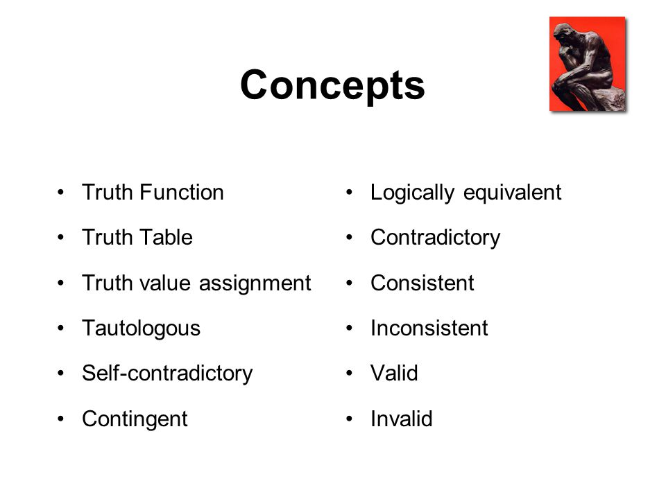 Concepts Truth Function Truth Table Truth value assignment Tautologous Self-contradictory Contingent Logically equivalent Contradictory Consistent Inc