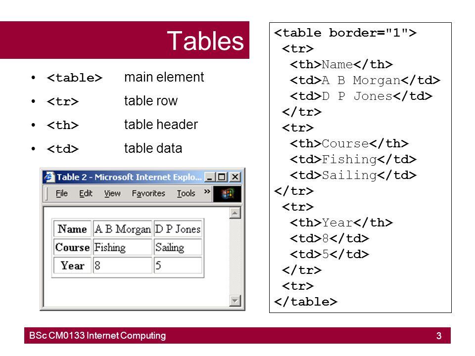 BSc CM0133 Internet Computing 14 Nested framesets Frames 2