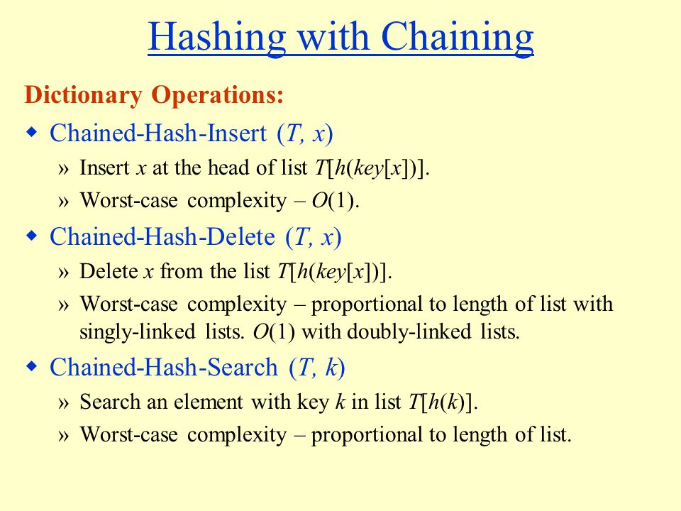 Hashing with Chaining Dictionary Operations: Chained-Hash-Insert (T, x) »Insert x at the head of list T[h(key[x])].