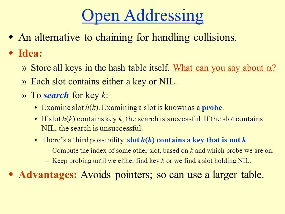Open Addressing An alternative to chaining for handling collisions.