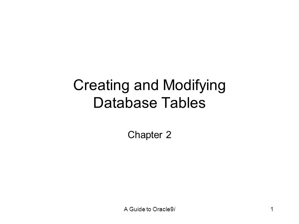 A Guide to Oracle9i2 Objectives Become acquainted with Structured Query Language (SQL) Learn about Oracle9i user schemas Learn how to define Oracle9i database tables Create database tables using SQL*Plus