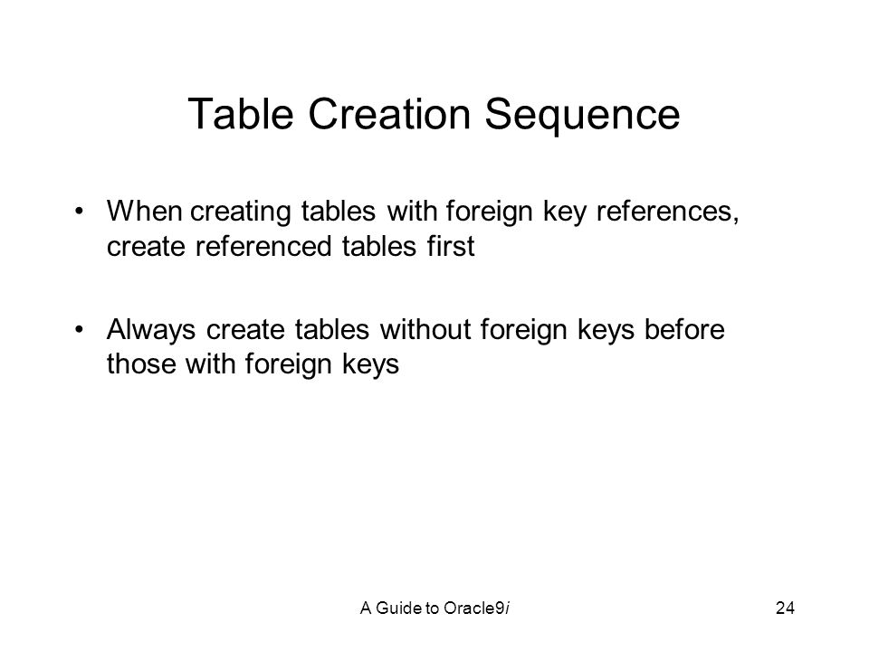 A Guide to Oracle9i24 Table Creation Sequence When creating tables with foreign key references, create referenced tables first Always create tables without foreign keys before those with foreign keys