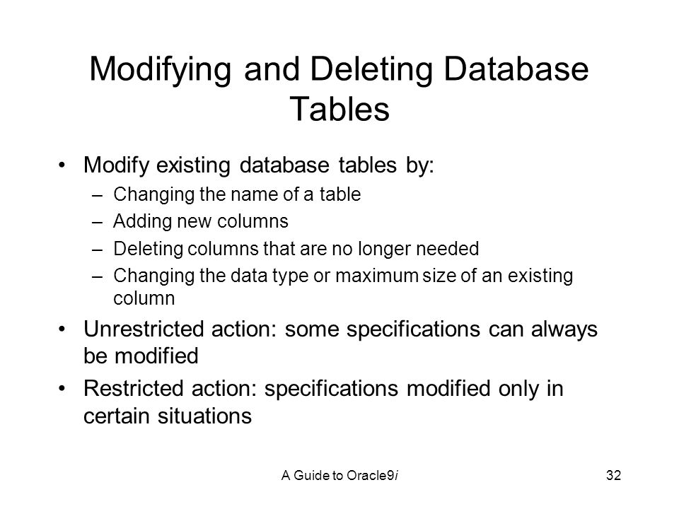 A Guide to Oracle9i32 Modifying and Deleting Database Tables Modify existing database tables by: –Changing the name of a table –Adding new columns –Deleting columns that are no longer needed –Changing the data type or maximum size of an existing column Unrestricted action: some specifications can always be modified Restricted action: specifications modified only in certain situations
