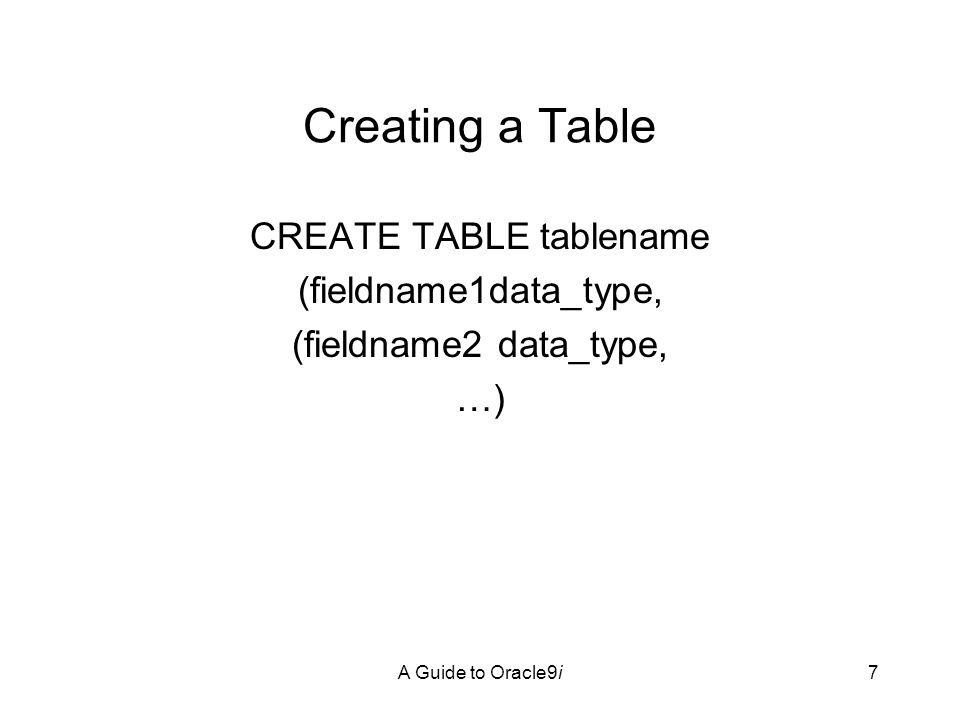 A Guide to Oracle9i38 Deleting a Field ALTER TABLE tablename DROP COLUMN fieldname; Can be used to rename a field – first drop, then add