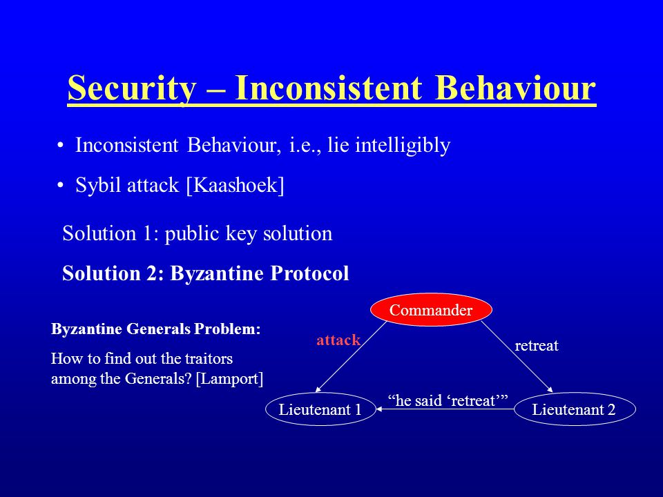 Inconsistent Behaviour, i.e., lie intelligibly Sybil attack [Kaashoek] Security – Inconsistent Behaviour Solution 1: public key solution Solution 2: B