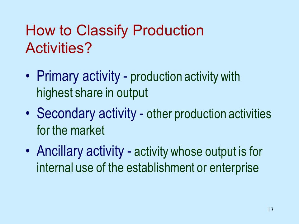 13 How to Classify Production Activities.