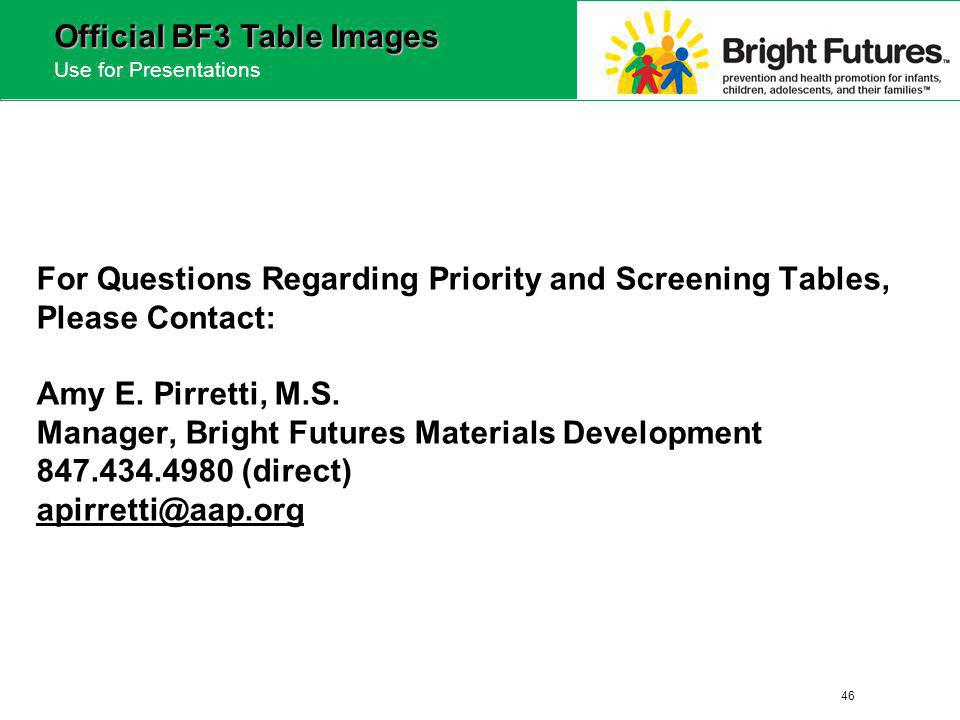 46 Official BF3 Table Images Use for Presentations For Questions Regarding Priority and Screening Tables, Please Contact: Amy E.