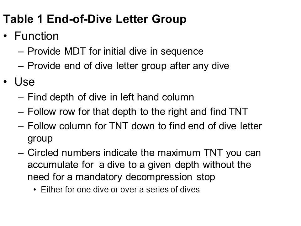 Table 1 End-of-Dive Letter Group Function –Provide MDT for initial dive in sequence –Provide end of dive letter group after any dive Use –Find depth o