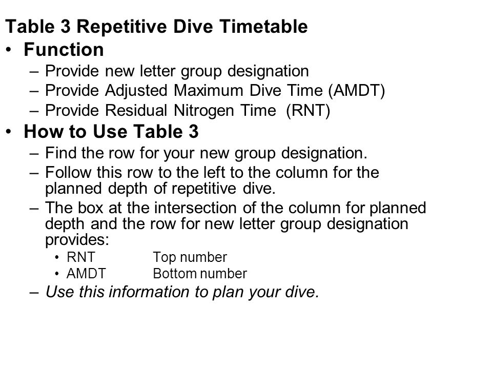 Table 3 Repetitive Dive Timetable Function –Provide new letter group designation –Provide Adjusted Maximum Dive Time (AMDT) –Provide Residual Nitrogen