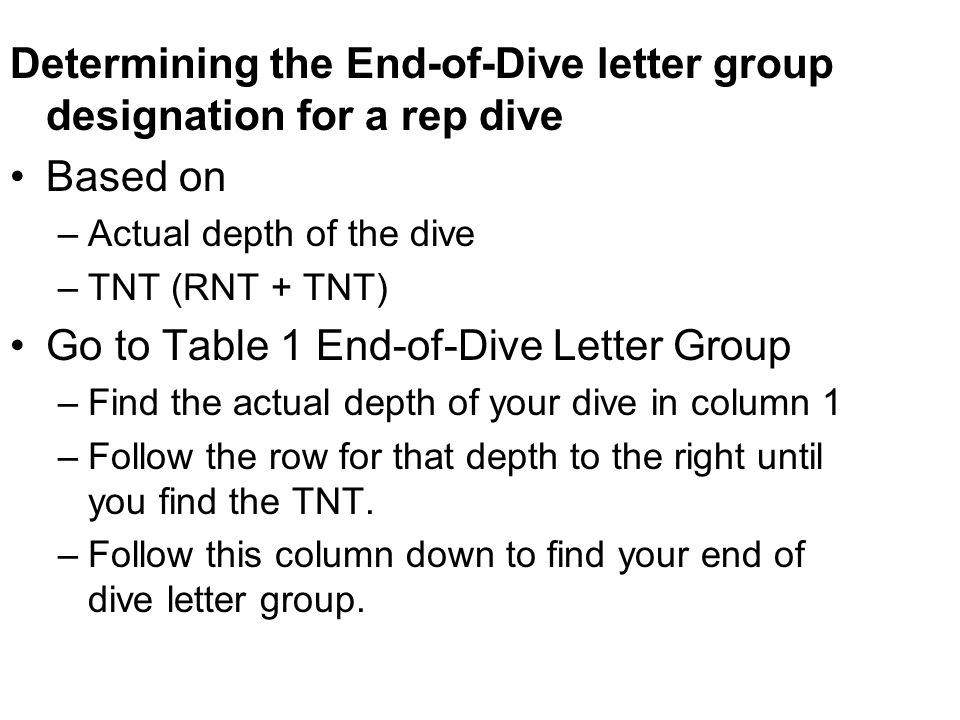 Determining the End-of-Dive letter group designation for a rep dive Based on –Actual depth of the dive –TNT (RNT + TNT) Go to Table 1 End-of-Dive Lett