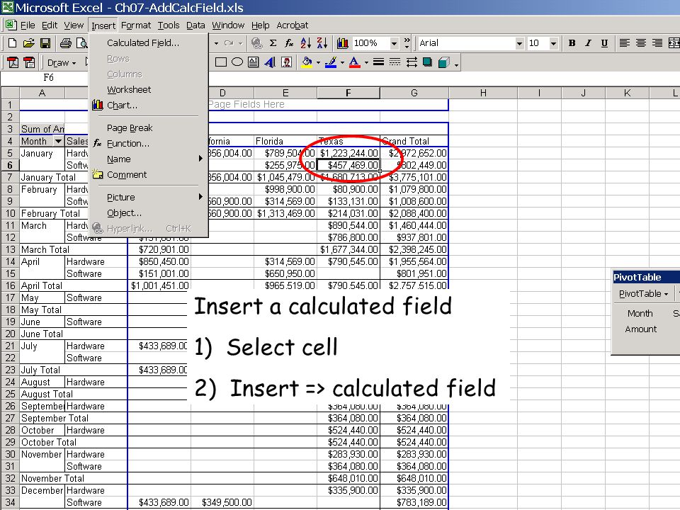 Insert a calculated field 1) Select cell 2) Insert => calculated field
