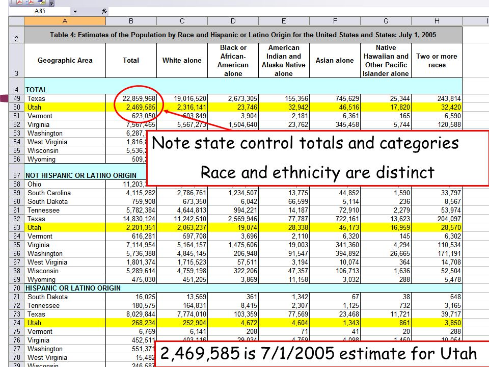 Note state control totals and categories Race and ethnicity are distinct 2,469,585 is 7/1/2005 estimate for Utah