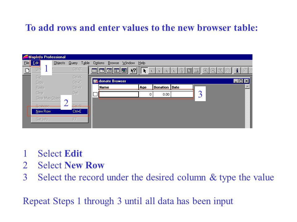 To add rows and enter values to the new browser table: 1 2 3 1Select Edit 2Select New Row 3Select the record under the desired column & type the value Repeat Steps 1 through 3 until all data has been input