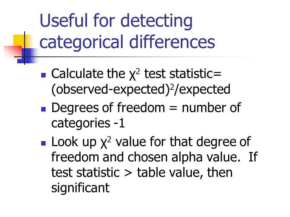 Useful for detecting categorical differences Calculate the χ 2 test statistic= (observed-expected) 2 /expected Degrees of freedom = number of categori