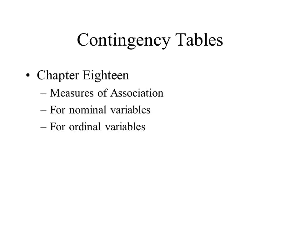 Contingency Tables Chapter Eighteen –Measures of Association –For nominal variables –For ordinal variables