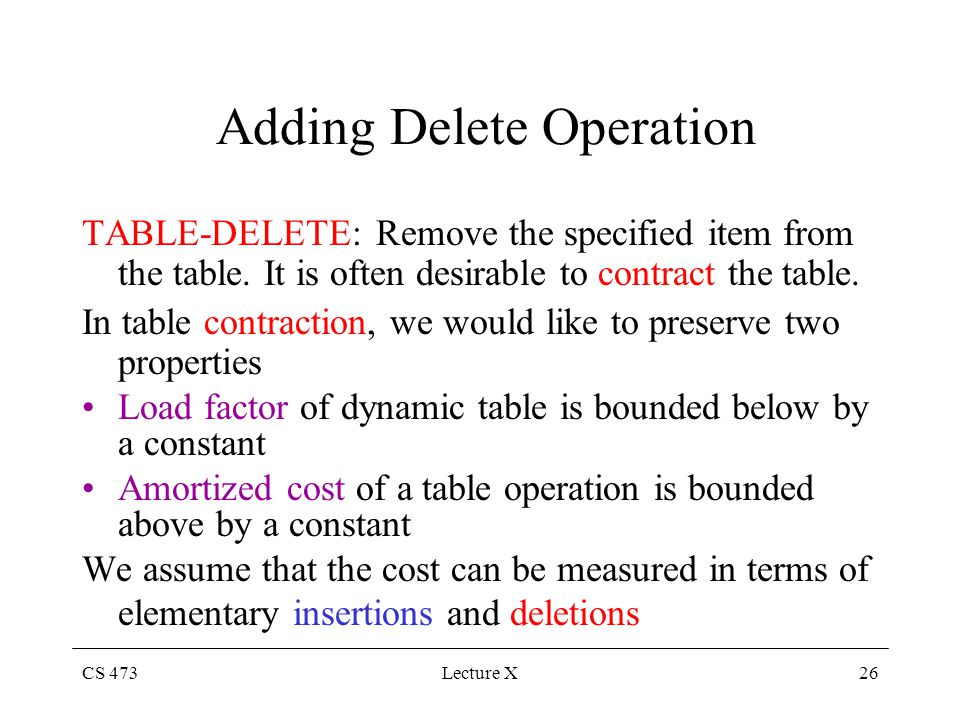 CS 473Lecture X26 Adding Delete Operation TABLE-DELETE: Remove the specified item from the table.