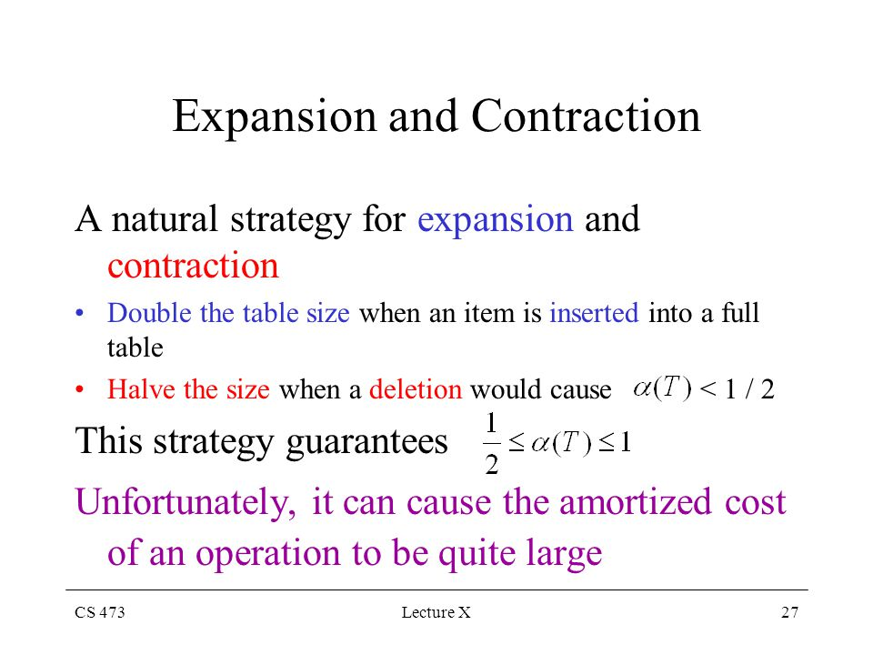 CS 473Lecture X27 Expansion and Contraction A natural strategy for expansion and contraction Double the table size when an item is inserted into a full table Halve the size when a deletion would cause < 1 / 2 This strategy guarantees Unfortunately, it can cause the amortized cost of an operation to be quite large