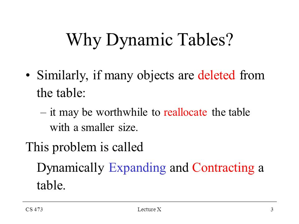 CS 473Lecture X3 Why Dynamic Tables.