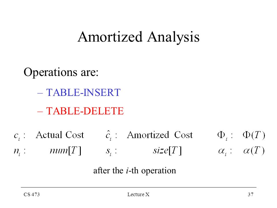 CS 473Lecture X37 Amortized Analysis Operations are: –TABLE-INSERT –TABLE-DELETE after the i-th operation
