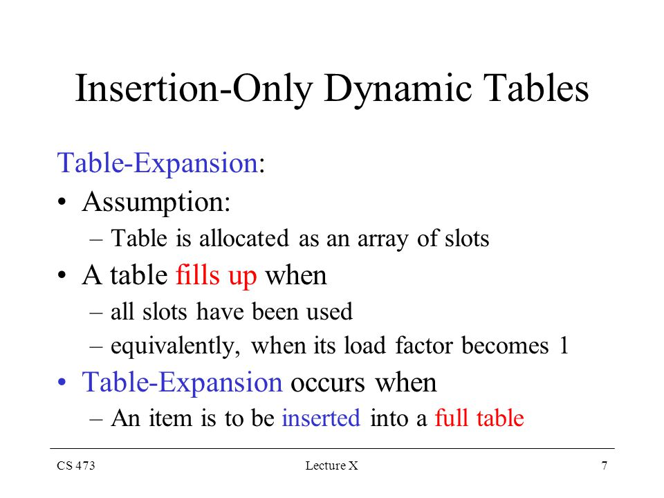 CS 473Lecture X7 Insertion-Only Dynamic Tables Table-Expansion: Assumption: –Table is allocated as an array of slots A table fills up when –all slots