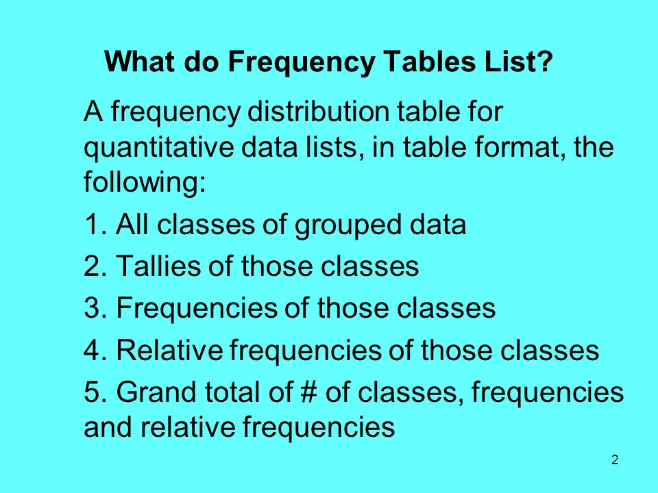 2 What do Frequency Tables List? A frequency distribution table for quantitative data lists, in table format, the following: 1. All classes of grouped