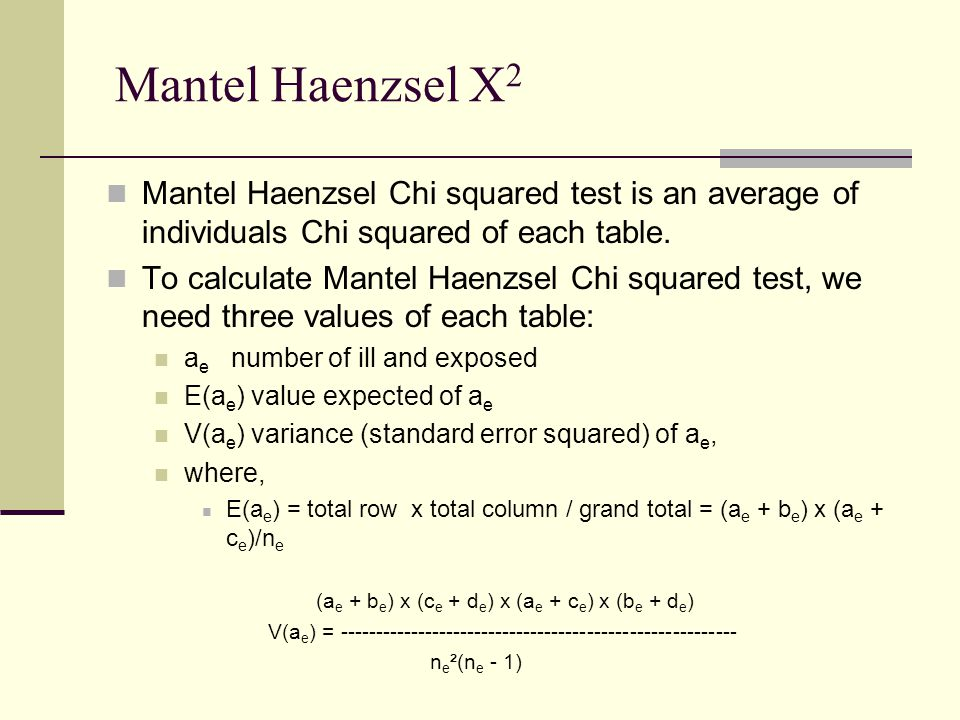 Mantel Haenzsel Chi squared test is an average of individuals Chi squared of each table.