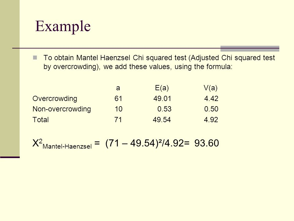 To obtain Mantel Haenzsel Chi squared test (Adjusted Chi squared test by overcrowding), we add these values, using the formula: a E(a) V(a) Overcrowding 61 49.01 4.42 Non-overcrowding 10 0.53 0.50 Total 71 49.54 4.92 X 2 Mantel-Haenzsel = (71 – 49.54)²/4.92= 93.60 Example