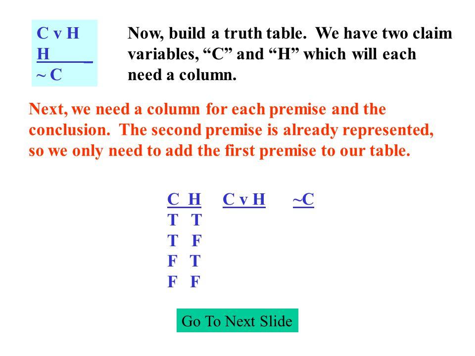Go To Next Slide C v H H _ ~ C Now, build a truth table.