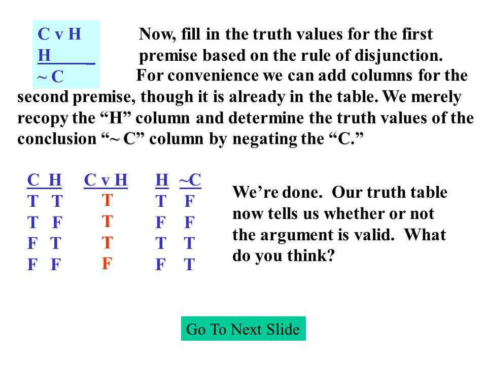 Go To Next Slide C H T T F F T F C v H C v H H _ ~ C Now, fill in the truth values for the first premise based on the rule of disjunction.