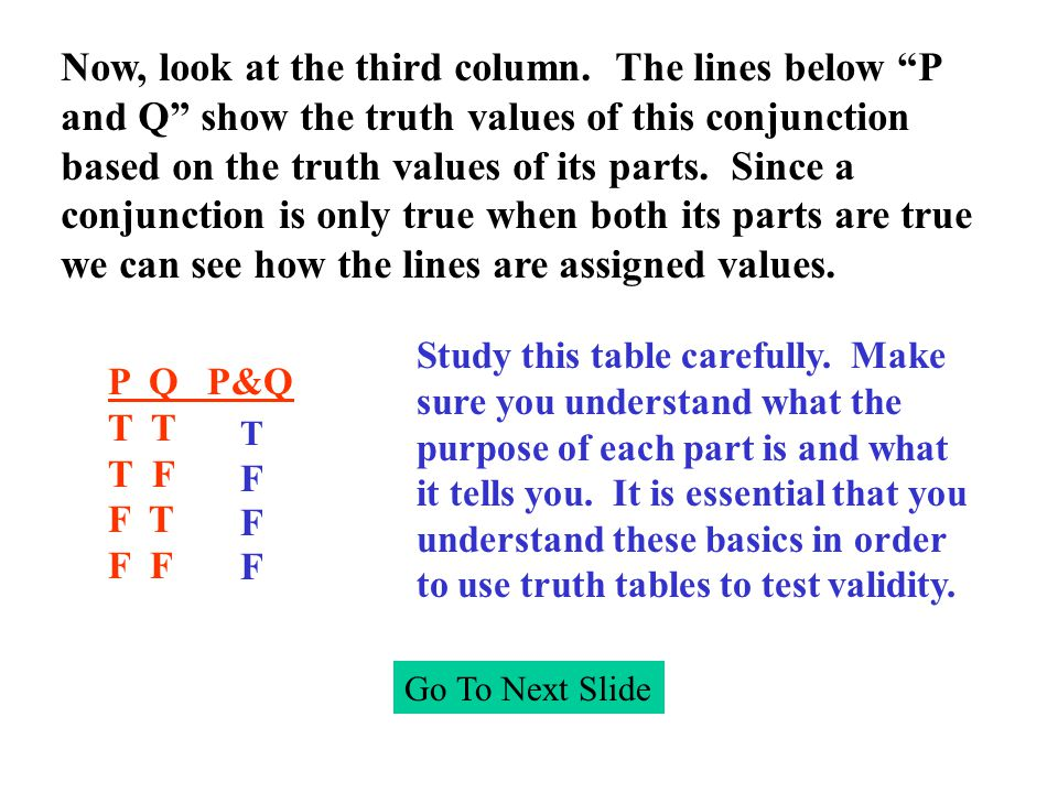 C H T T F F T F C v H T F ~C F T HTFTFHTFTF C v H H _ ~ C Go To Next Slide When you inspect the truth table you want to see if it is possible for the premises to be true and the conclusion false.