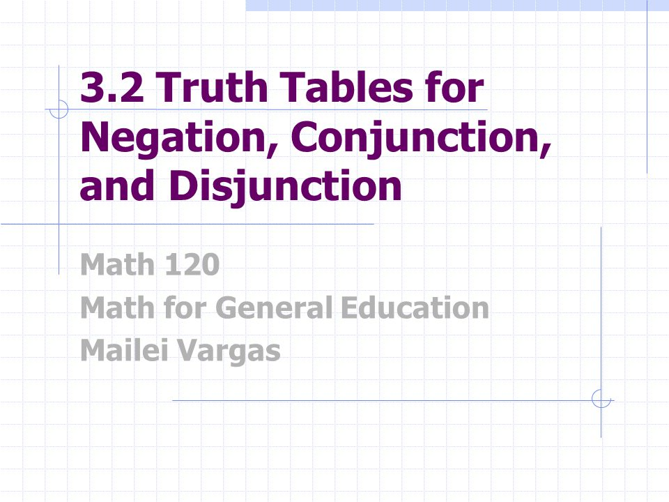 3.2 Truth Tables for Negation, Conjunction, and Disjunction Math 120 Math for General Education Mailei Vargas