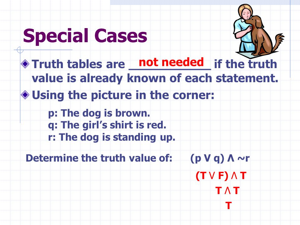 Special Cases Truth tables are ___________ if the truth value is already known of each statement. Using the picture in the corner: p: The dog is brown