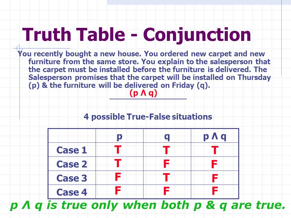 Truth Table - Conjunction You recently bought a new house. You ordered new carpet and new furniture from the same store. You explain to the salesperso