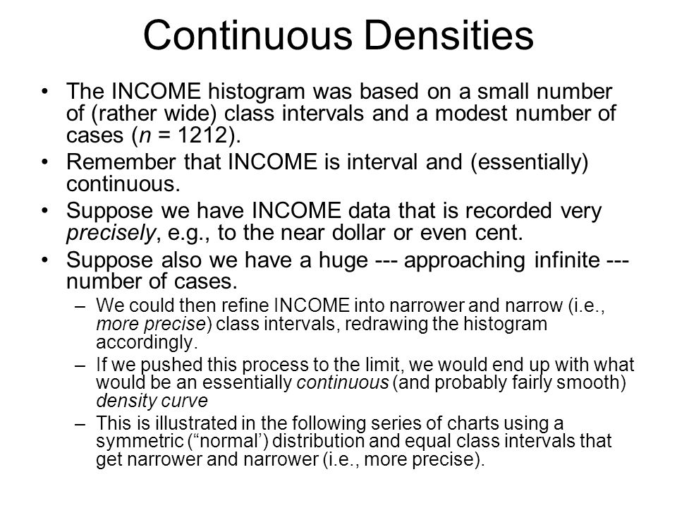 Continuous Densities The INCOME histogram was based on a small number of (rather wide) class intervals and a modest number of cases (n = 1212). Rememb